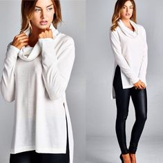 Cozy white turtleneck tunic top Slightly boxy fit, long sleeves, cowl turtle neck, hi-low top. Has high side slits. This top is made with medium weight, brushed knit fabric that has a very soft fuzzy texture, drapes well and is very warm. This fabric has good stretch. Fabric : 67% Polyester, 29% Rayon, 4% Spandex Made In : U.S.A Sweaters Cowl & Turtlenecks