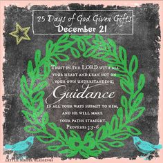 25 Days God Given Gifts ~ Day 21 ~ Unwrapping the Gift of: GUIDANCE ~ Trust in the LORD with all your heart and lean not on your own understanding; in all your ways submit to him, and he will make your paths straight. Proverbs 3:5-6 [...]