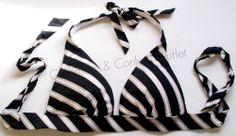 Victoria's Secret Beach Sexy Push Up Halter BIKINI TOP Black Gold Stripe Q26  XS