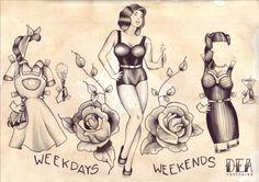 Weekdays & Weekends Paper Doll