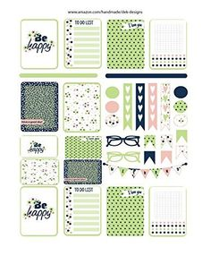 "Monthly planner stickers, ""Be Happy"", sized to fit most planners boxes are 1.5"" x 2.0"" and 1.5"" x 1.0"". Stickers are kiss cut, just peel and stick."