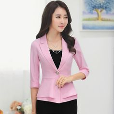 2016 New Fashion Mid Sleeve Two Layers One Button Blazers Office Business Small Suit Jackets Suits For Women, Jackets For Women, Blazers For Women, Clothes For Women, White Blazer Women, Yellow Blazer, Office Outfits Women, Moda Chic, Blazer Fashion
