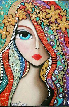 Art And Illustration, Whimsical Art, Art Plastique, Mandala Art, Portrait Art, Face Art, Indian Art, Doodle Art, Painting & Drawing