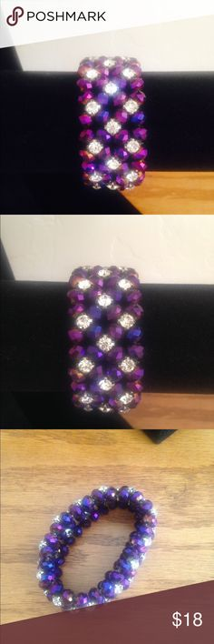 Beautiful purple bling stretchy bracelet This is gorgeous  Beautiful dark purple bling stretchy bracelet I have worked very very hard to imitate this pattern  so I take pride in these set of bracelets I have just put up and from on my prices thank you for understanding and Appreciating handmade. They are stretchy they should fit most wrist I'm always open to REASONABLE offers I DO TAKE INTO Consideration shipping fees when I price my items handmade by me  Jewelry Bracelets