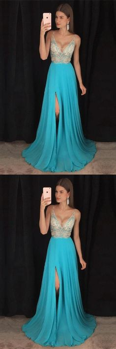Beautiful Spaghetti Straps Blue Long Beading Chiffon V-neck Prom Dresses Z0642      #promdresses #promdress #promgowns #dresses #gowns #prom #eveningdresses #partydresses #womendresses #fashiondresses #long #elegant #modest #fashion  #charming #formal #classy #beautiful #simple #cheap #promdresses2018 #forteens #chffion #v-neck #beading #spaghettistraps #blue
