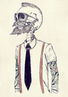 """""""The Gentleman becomes a Hipster"""" Art Print - Not a tattoo I just really like the style."""