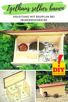 Igelhaus selber bauen Our hedgehog house to build yourself makes the sting animals happy: It is sleeping, feed and wintering in one. Diy Hedgehog House, Marigolds In Garden, Insect Hotel, Diy Fireplace, Simple Colors, Diy Bed, Animal Shelter, Bird Houses, Diy Design