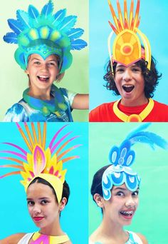 Printable carnival headpiece template: Easy and fun to make DIY costume ideas! Printable Carnival crowns and headpieces for DIY Carnival costumes and celebrations! Rio Carnival Costumes, Carnival Crafts, Costume Carnaval, Carnival Decorations, Brazil Costume, Mardi Gras, Carnival Headdress, Art For Kids, Crafts For Kids