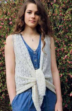 Free knitting pattern for Lace Tie Vest