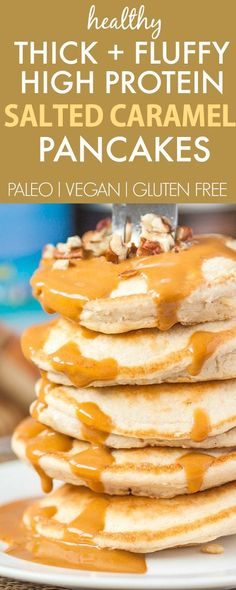 Healthy THICK and FLUFFY Salted Caramel Pancakes which are accidentally low carb and packed with protein- NO nasties! A delicious breakfast choice! {paleo, gluten free, grain free recipe}- thebigmansw (Low Carb No Bake Cheesecake) Breakfast And Brunch, Low Carb Breakfast, Breakfast Recipes, Breakfast Biscuits, Gluten Free Breakfasts, Gluten Free Recipes, Low Carb Recipes, Cooking Recipes, Healthy Recipes