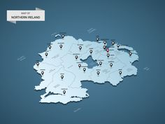 Isometric 3D Northern Ireland map, vector illustration with cities, borders, capital, administrative divisions and pointer marks; gradient blue background. Concept for infographic.