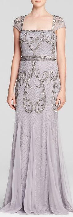 Adrianna Papell Gown - Square Neck Cap Sleeve Beaded Open Back Godet