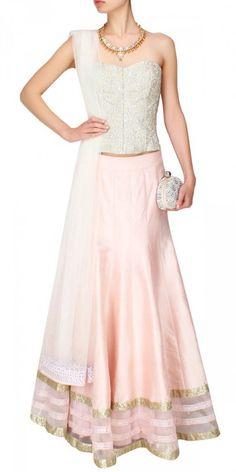 Elegant Pink And White Silk Lehenga Choli.