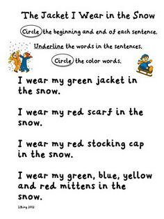 The Jacket I Wear In the Snow sentences