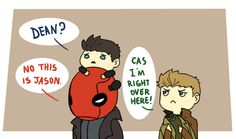 So cute... Jason Todd (Under the Red Hood) is voiced by Jensen Ackles...aka Dean