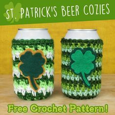 Patrick's Day Beer Cozies Free Crochet Pattern Crochet Cup Cozy, Irish Crochet, Free Crochet, Holiday Crochet, Crochet Gifts, Couture, Crochet Projects, Yarn Projects, St Patrick
