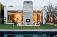 The rear terrace of fashion designer Jenni Kayne's striking contemporary house in Los Angeles.