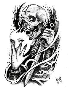 #skull #draw #drawing #tattoodesign #dibujo #blackwork#blackwork #dibujo #draw #drawing #skull #tattoodesign Tattoo Images, Tattoo Photos, Tattoo Drawings, Skull Drawings, All Tattoos, Angel Tattoo Men, Big Tattoo, Lower Back Tattoos, Arm Band Tattoo