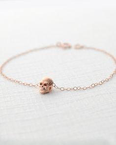 Rose Gold Skull Bracelet - JewelMint