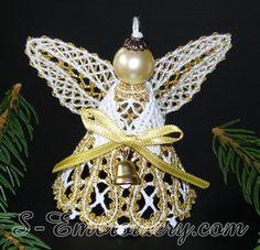 10591 Battenberg lace 3D Christmas angel ornament set