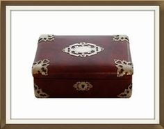 Antique Mounted Leather Sewing/Jewellery Box  £150