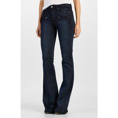 Paige Denim 'Transcend - Renata' Zip Flare Jeans ($219) ❤ liked on Polyvore