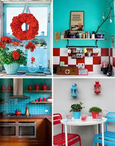 Red, white, and blue kitchen