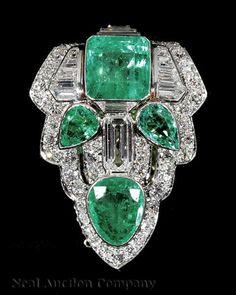 Art Deco Platinum, Emerald and Diamond Lapel Clip,