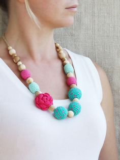 Nursing necklace Pink and teal green by 100crochetnecklaces
