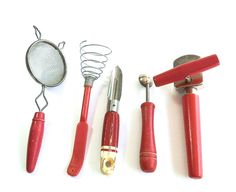 Vintage Rustic Kitchen Tools Red Wooden Handle
