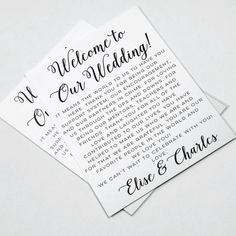 Wedding Welcome Letters Wedding Itineraries by DesignedByME