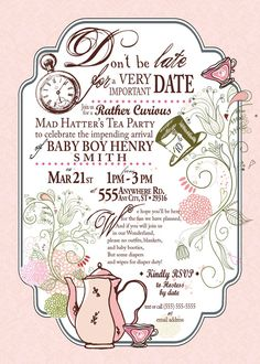 Mad Hatter Tea Party invitation by SweetTeaDoodles on Etsy