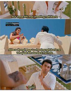 Bandi k baat m dam hai yaar 😜😂 Bollywood Funny, Bollywood Movie Songs, Bollywood Quotes, Bollywood Couples, Famous Dialogues, Funny Dialogues, Funny Video Memes, Funny Jokes, Yjhd Quotes