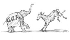 """""""The Dance"""" by Paul McGehee. Harkening back to the early days of politics in the young United States, """"The Dance"""" shows the Republican Elephant and the Democratic Donkey as they first appeared in the 19th century. A wonderful piece of political memorabilia, hand-signed by Paul McGehee.  Print image size: 7"""" x 10"""". Edition size: 500. Price: $50.00 S/N. Donkey, 19th Century, Moose Art, Elephant, United States, Politics, Animals, Image, Animais"""