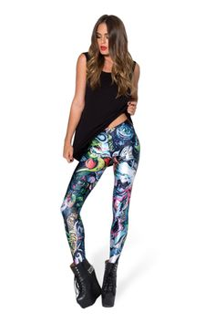 Black Milk--Sketches Of A Bitter Man Leggings (PRESALE) › Black Milk Clothing @AGirlsGuideToShoes GRUMPY CAT is on the back of the right lower leg on these!.  haha