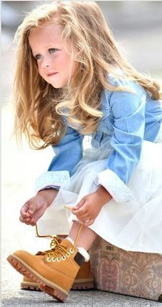 Adorable kids outfit - boots, dress, chambray