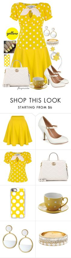 """Yellow!"" by florymcintee ❤ liked on Polyvore featuring Journee Collection, Gucci, Casetify, Fitz & Floyd and Kate Spade"
