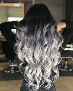 Long Silver Ombre With Stretched Black Roots that looks amazing Blonde Ombre Hair, Grey Hair Wig, Ombre Hair Color, Hair Color For Black Hair, Cool Hair Color, Wavy Hair, Hair Colors, Hair Tips Grey, Black Hair Blonde Tips