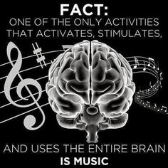 Sight reading/singing stimulates the entire brain. So those who play instruments (yes, the voice is an instrument) seriously are using their whole brain. Not so for people simply listening to music or singing along to the radio. On Air Radio, Motivacional Quotes, Rave Quotes, E Mc2, Music Therapy, Music Lyrics, Music Music, Music Signs, Rock Music