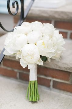 all white peonies elegant wedding bouquets with single bloom