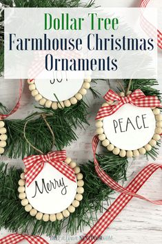 Dollar Tree Farmhouse Christmas Ornaments – The Latina Next Door Create these fun Dollar Tree Farmhouse Christmas Ornaments with some simple supplies. Use Christmas phrases or printed pictures for them, it's up to you! Dollar Tree Christmas, Dollar Tree Crafts, Diy Christmas Ornaments, Handmade Christmas, Christmas Wreaths, Christmas Decorations, Ornaments Ideas, White Christmas, Farmhouse Christmas Ornaments Diy