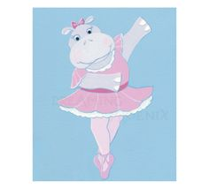 Ballerina Painting Animal Ballet Hippo Nursery by DreamingPhoenix