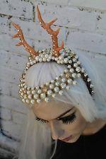 Fairy Cerbiatto con Perline Horned Fiore Corona Piuma Head Band
