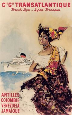 #TRASATLANTIQUE - VENEZUELA VINTAGE POSTER  #Travel Venezuela - We cover the world over 220 countries, 26 languages and 120 currencies Hotel and Flight deals.guarantee the best price multicityworldtravel.com