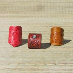 Trio of Handcrafted Artisan Boho Leather Rings by Julicia's Creations