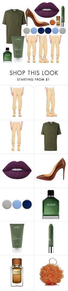 """""""Earth Tones"""" by ritavideira1996 ❤ liked on Polyvore featuring Yeezy by Kanye West, Faith Connexion, Lime Crime, Christian Louboutin, Burberry, Armani Beauty, Clinique and Dolce&Gabbana"""