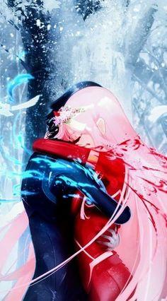 wallpaper zero two * wallpaper zero two ; wallpaper zero two e hiro ; wallpaper zero two hd ; wallpaper zero two aesthetic ; wallpaper zero two black Anime Kiss, Sad Anime, Otaku Anime, Anime Love, Kawaii Anime, Anime Manga, Zero Wallpaper, Cute Anime Wallpaper, Couple Manga