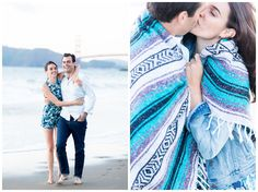 Engagement Portrait Blanket Wrapped Around | Couple kissing while getting their engagement photos taken on Baker Beach