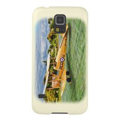 Yellow Bi Plane - cream Background Galaxy S5 Cover The Case-Mate Barely There Samsung Galaxy S5 Case is an impact resistant  plastic case that protects the back and sides of your phone #aircraft #TigerMoth #aviation