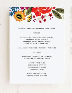 The Spanish Florals Wedding Programs are adorned with vibrant illustrations of floral blooms and neat typography on a white background. Customize these cards with endless combinations of colors and fonts. #cuteweddingprogram #colorfulweddingprogram #summerweddingprogram Bride Sister, Father Of The Bride, Flower Cake Decorations, Bridal Party Invitations, Wedding Trends, Wedding Ideas, Summer Wedding Colors, Wedding Day Inspiration, Groom And Groomsmen